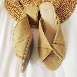 Cabi Marigold Gold Heeled Mule Sandals Open Toe